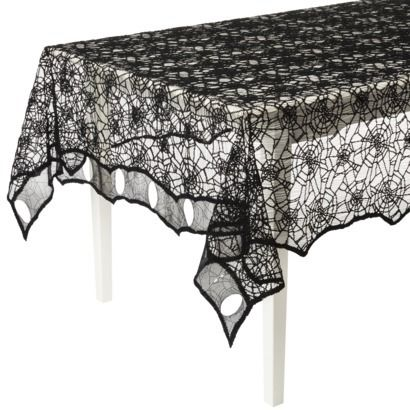 Black Lace Spider Web Tablecloth (Target)   This Looks Great In Person.