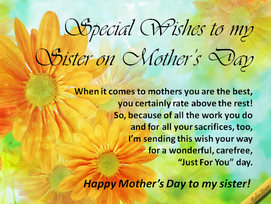 A mothers day ecard with special wishes to your sister see all my a mothers day ecard with special wishes to your sister see all my ecards at 123greetingsprofilebebestarr they are free to send and fun to m4hsunfo