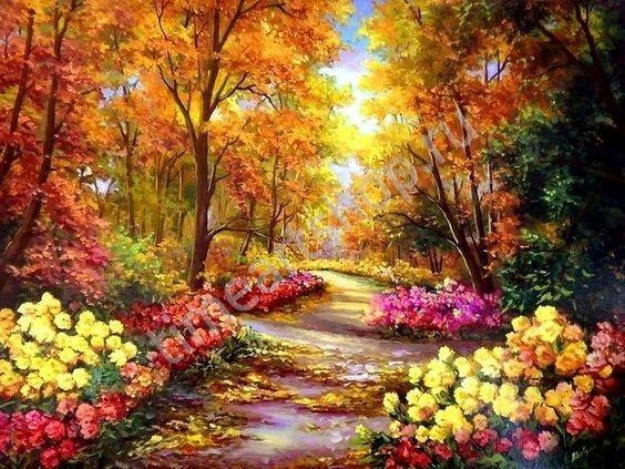 Яркая осень, художник Анка Булгару, картина раскраска по ...
