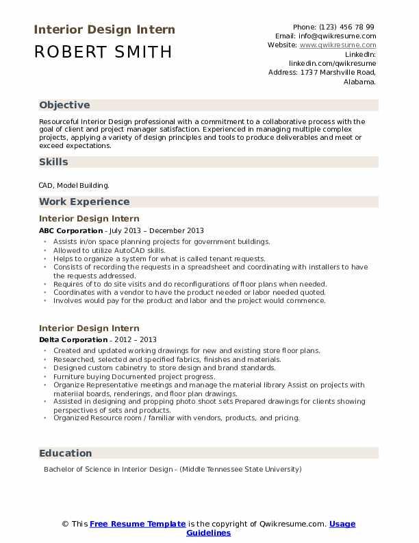 Interior Design Intern Resume Samples Qwikresume Internship Resume Resume Interior Design Resume