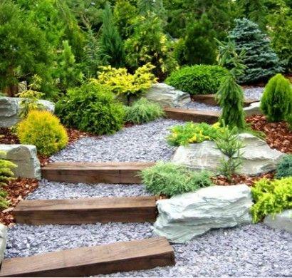 gartentreppe-stein-holz-landschaftsbau-garten-holz-kies | garten, Gartenarbeit ideen