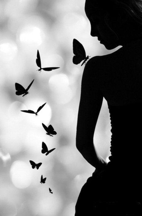 #black #silhouette #butterflies