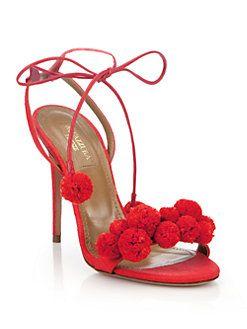 Aquazzura - Leather Pom-Pom Sandals $825