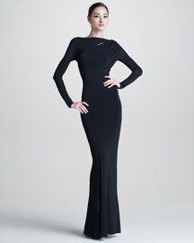 B20W0 Donna Karan Long-Sleeve Jersey Gown