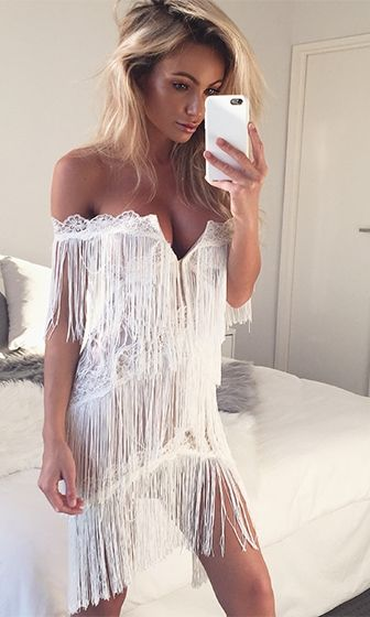 8bb0612e6912 Modern Dreamer White Nude Fringe Lace Off The Shoulder Plunge V Neck Halter  Bodycon Mini Dress