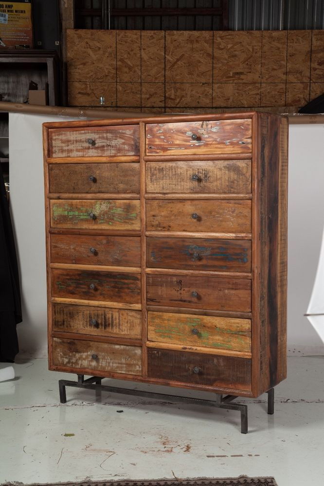 Reclaimed Wood Indian Dresser Chest 14 Drawers Made In India Multi Color Mango Designtreehome Rusticethnic
