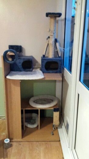 Cat play area created from an old computer desk x
