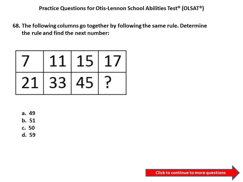 Practice Olsat Questions For 3rd Grade To 4th Gradeotis Lennon
