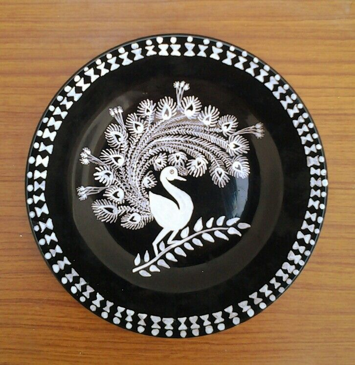 Warli peacock on plate | My inspired works    in 2019