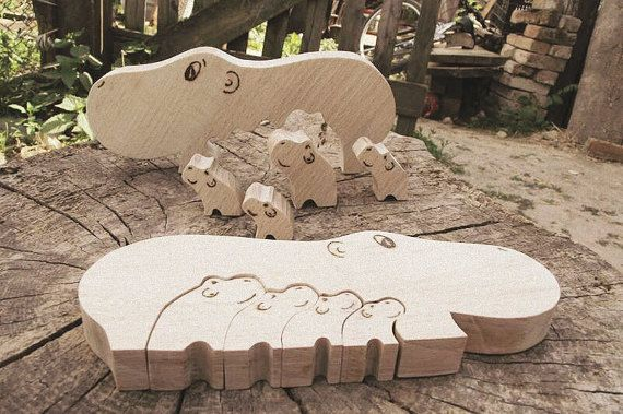 Hippo Family Puzzle. Handmade freestanding wooden puzzle. Birthday/christmas/any occasion gift for children