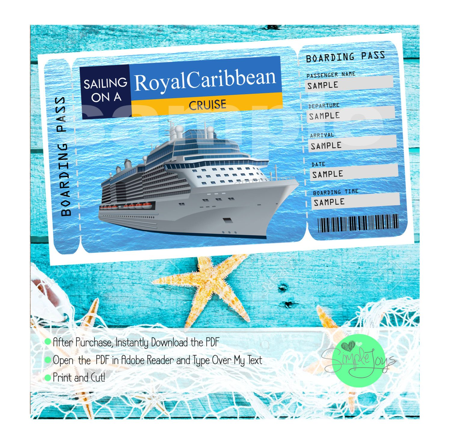Royal Caribbean Cruise Printable Ticket Boarding Pass