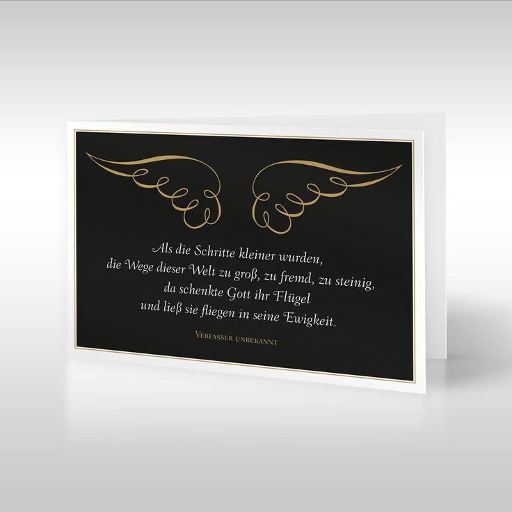 Exceptionnel Die Anmutige Design Trauerkarte Im Hochformat Zeigt Goldene Flügel Und  Einen Dazu Passenden Trauerspruch Eines