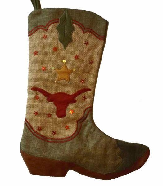 Cowboy Boot Christmas Stocking - Longhorn Stars ...