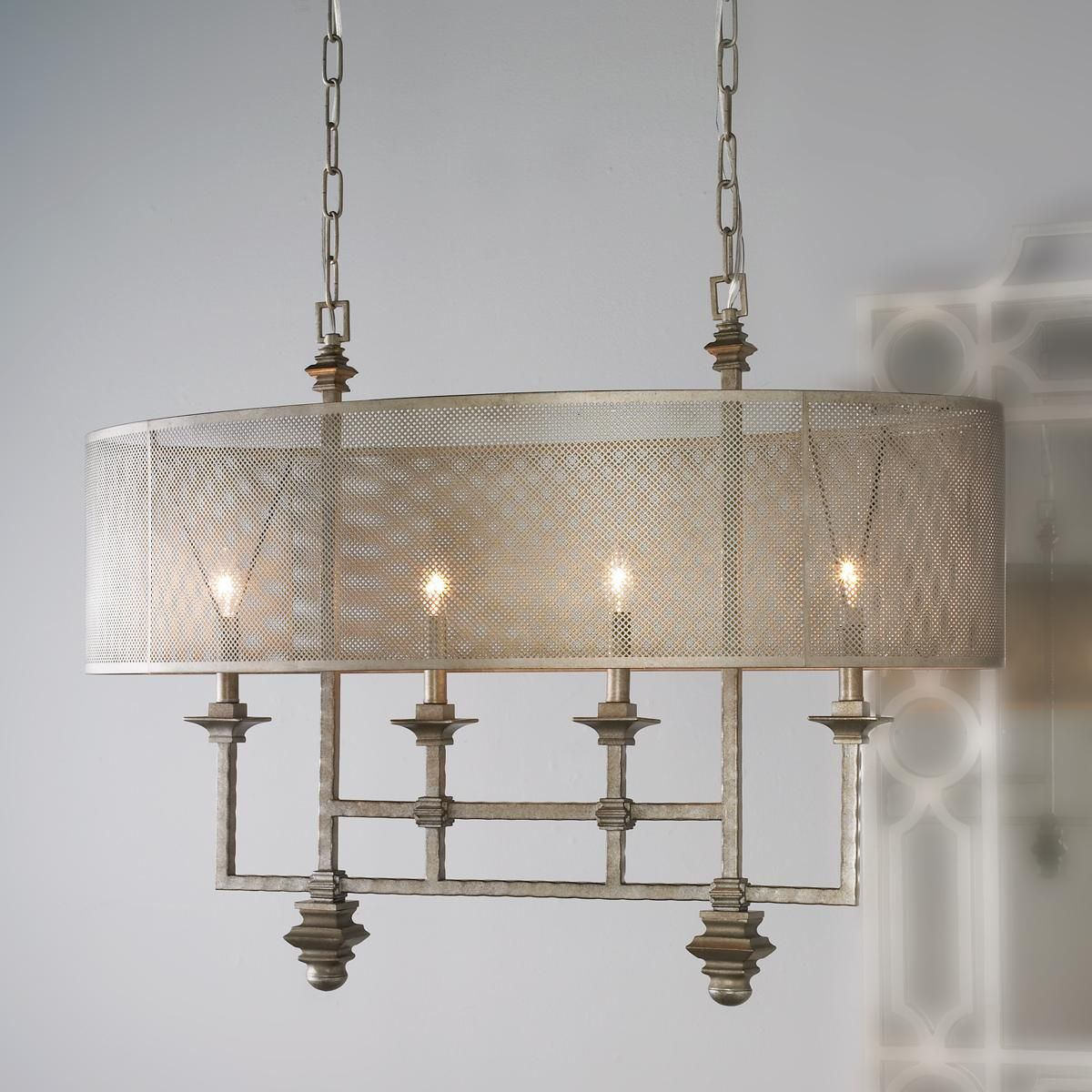 Mesh Screen Shade Chandelier An Oval Shade Of Metal Mesh Diffuses
