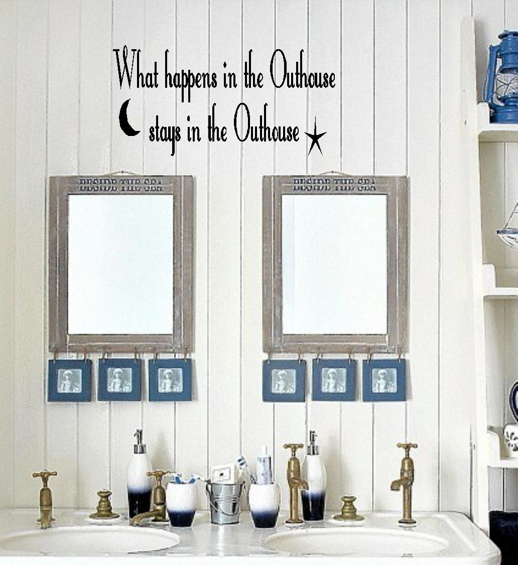 Outhouse/Bathroom Vinyl Wall Decor Lettering Sticky Art Funny ...