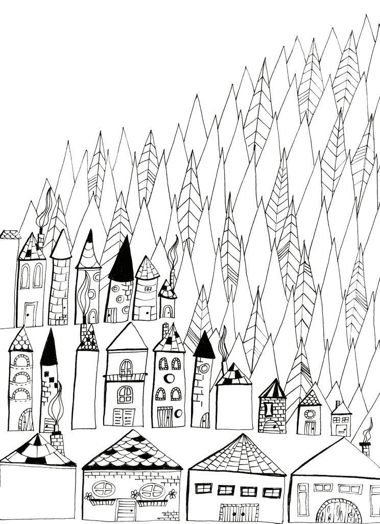 Coloring sheet Village | PROJECTE. CASES DEL MÓN | Pinterest | Arte