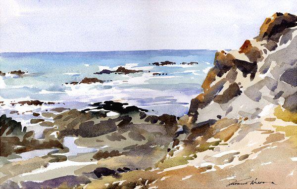Image Du Tableau Aqua Mer Rochers De Annie L Paysage De Mer