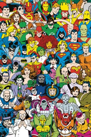 Dc Comics Bohaterowie Retro Plakat Plakaty Filmowe