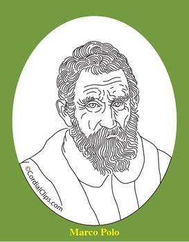 Marco Polo Clip Art Coloring Page Or Mini Poster Coloring