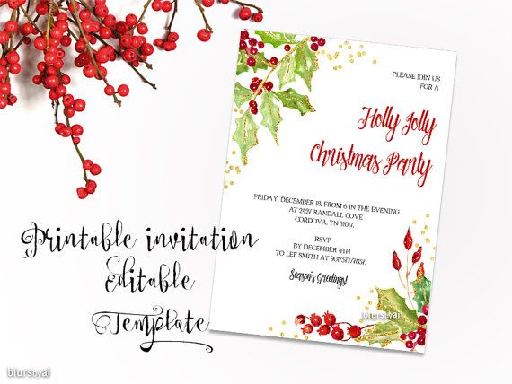 Printable Christmas party invitation TEMPLATE, Christmas editable - microsoft word party invitation template