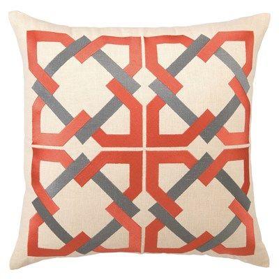 Trina Turk #Pillow Embroidered Linen #Geometric Tile Orange/Grey #Design