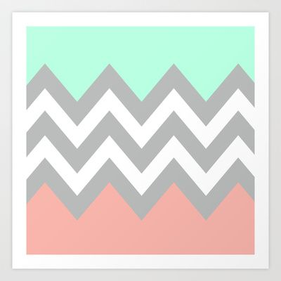 Colorblock Chevron in mint, coral, grey   Pink bedroom for ...