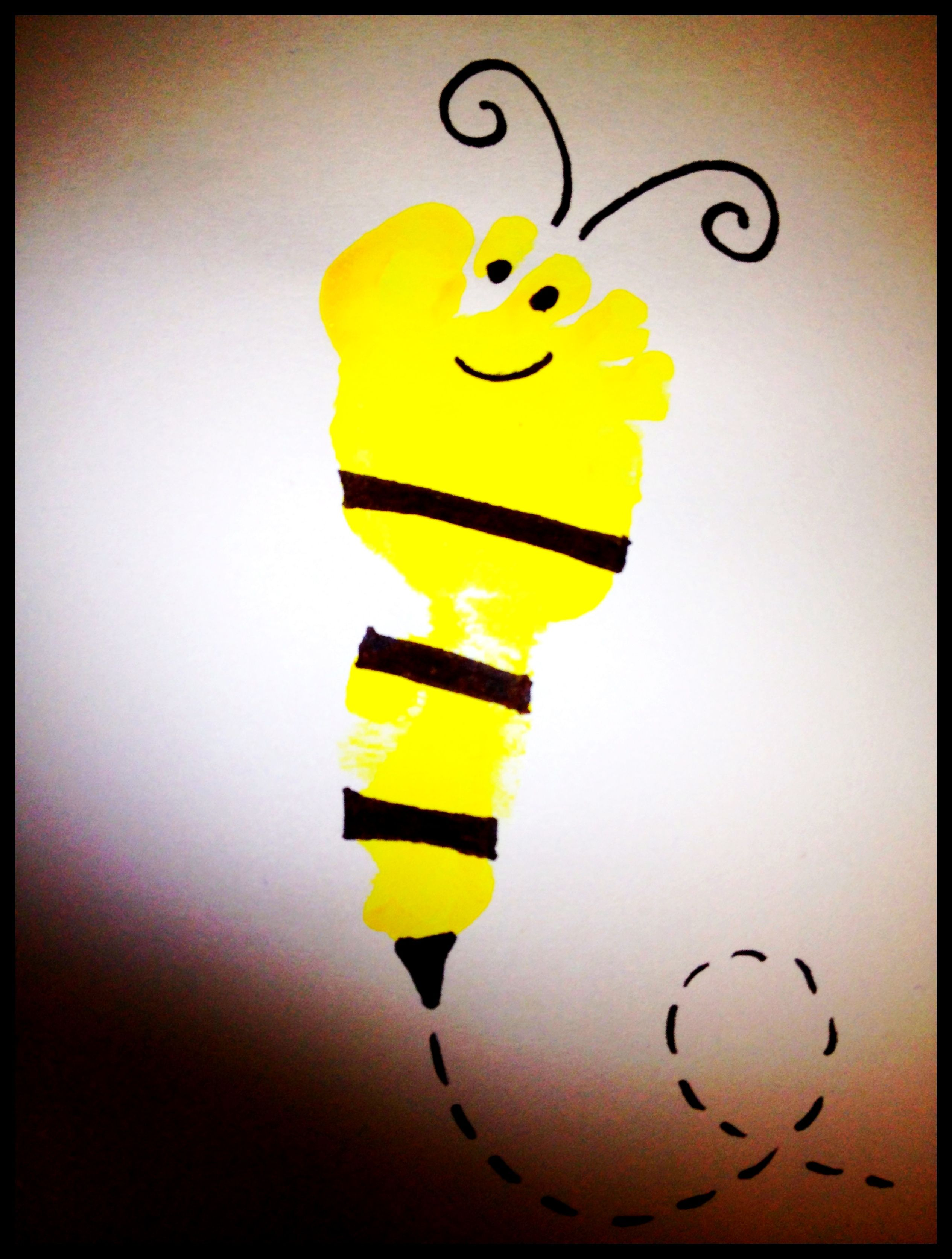 Footprint bumble bee using yellow paint, a black sharpie, and a ...