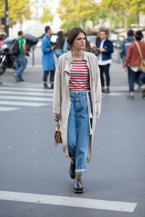 Trench, Red Striped Tee, Jeans #StreetStyle http://www.videdressing.us/selection-women-style-team-love/sel-s1503.html