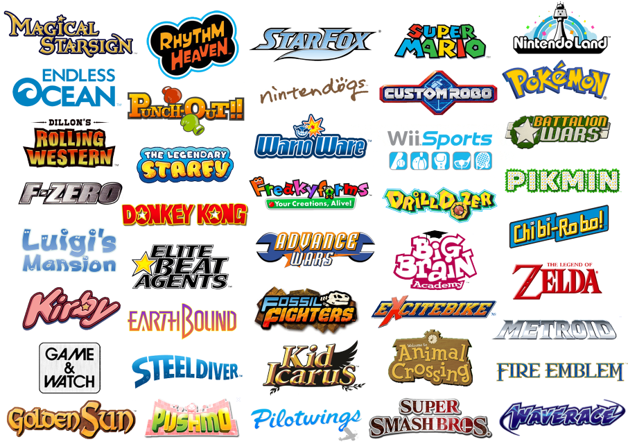 logos representing the many different Nintendo franchises