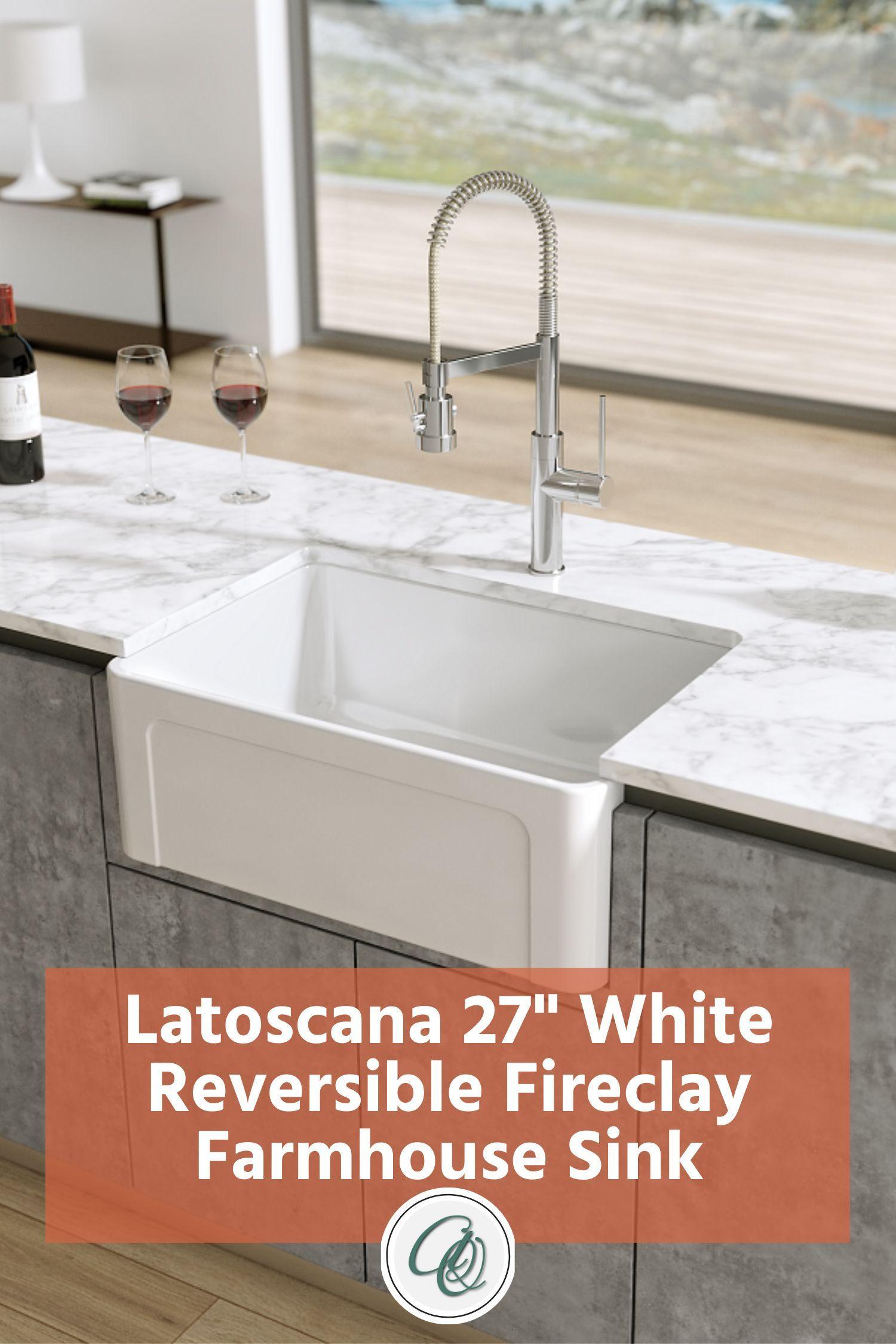 Latoscana Ltw2718w 27 White Fireclay Farmhouse Sink With Reversible Design Farmhouse Sink Fireclay Farmhouse Sink Farmhouse Sink Kitchen
