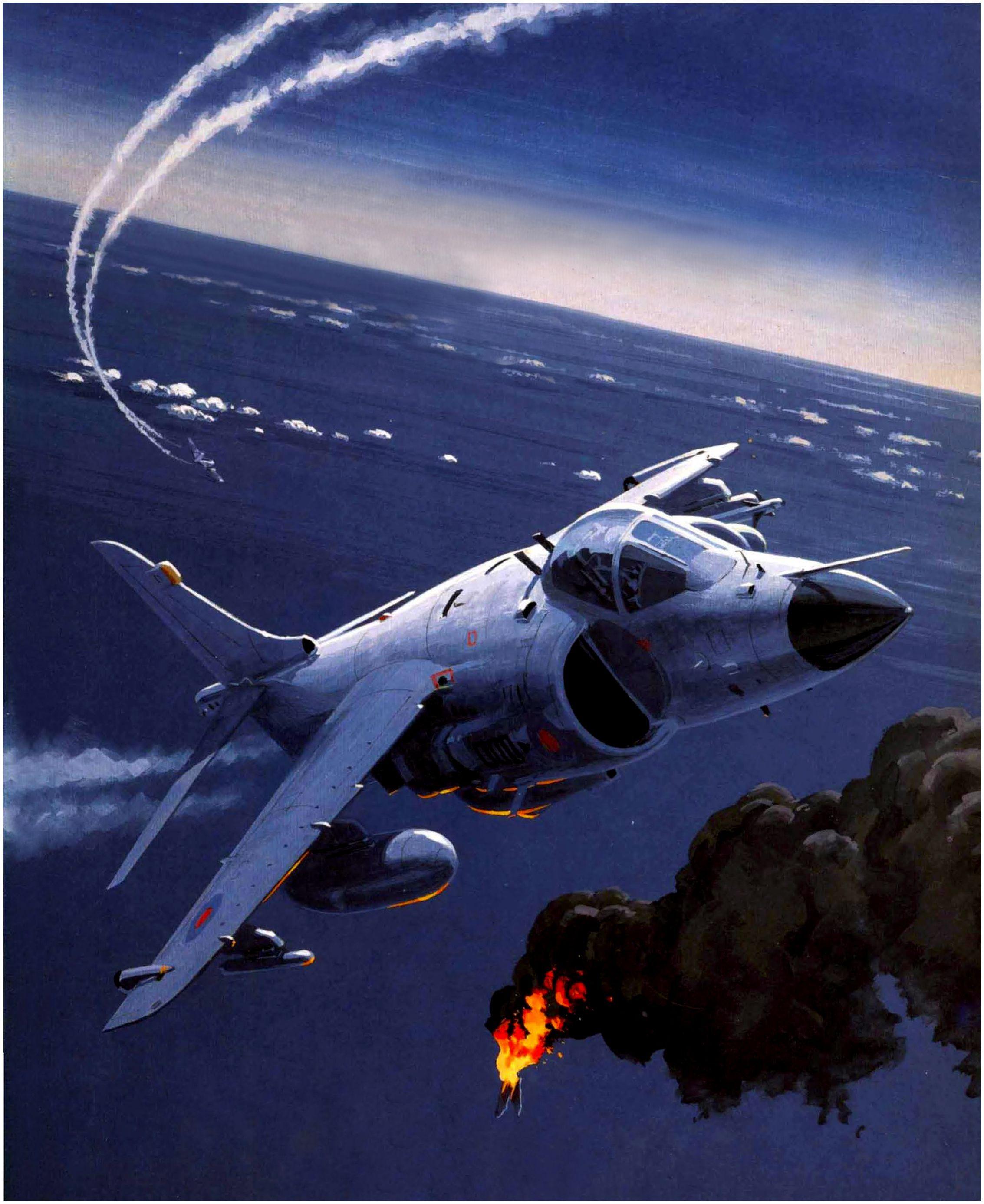 La tarde del 1 de mayo de 1982 (a las 17:04 horas), uno de los dos Sea Harrier FRS.Mk.1 (numero de serie XZ451, con codigo de identificacion 000) del 801° Sqdn. utilizo un misil aire-aire AIM-9L Sidewinder para derribar un Camberra B.Mk 62 (número de serie B-110) perteneciente al Grupo 2 de Bombardeo, que volaba sobre el Atlantico sur con rumbo sudeste sin tierra a la vista, atacándolo de frente desde una distancia de unos 7,300 metros en un encuentro que tuvo lugar a unos 36,000 pies de…