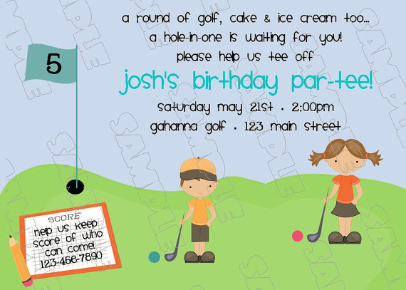 Miniature golf putt putt birthday party by greenmelonstudios – Mini Golf Birthday Party Invitations