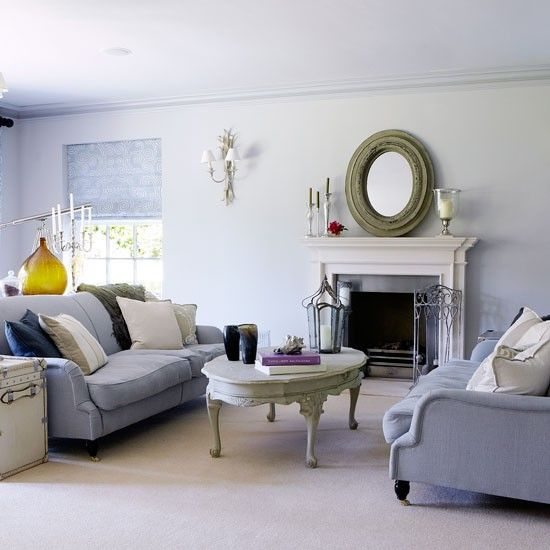Soft Grey Living Room   Looks Like A Soft Periwinkle With The Color Of The  Sofas