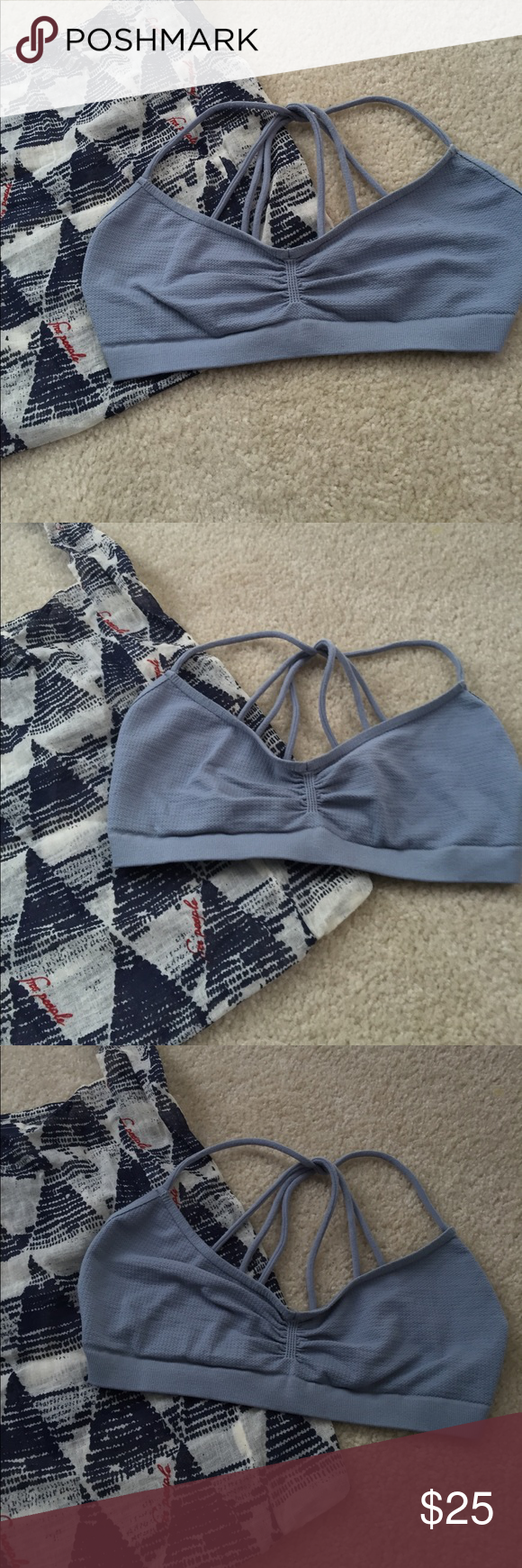 Free People Bralette *with bag* Free People Bralette size M / L perfect condition worn twice! Would trade for other FP - pretty light blue & comes with bag! Free People Intimates & Sleepwear Bras