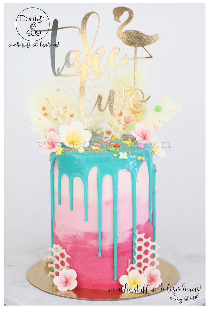 Tropical Themed Drip Cake With Gold Acrylic Take Two Topper Design 409
