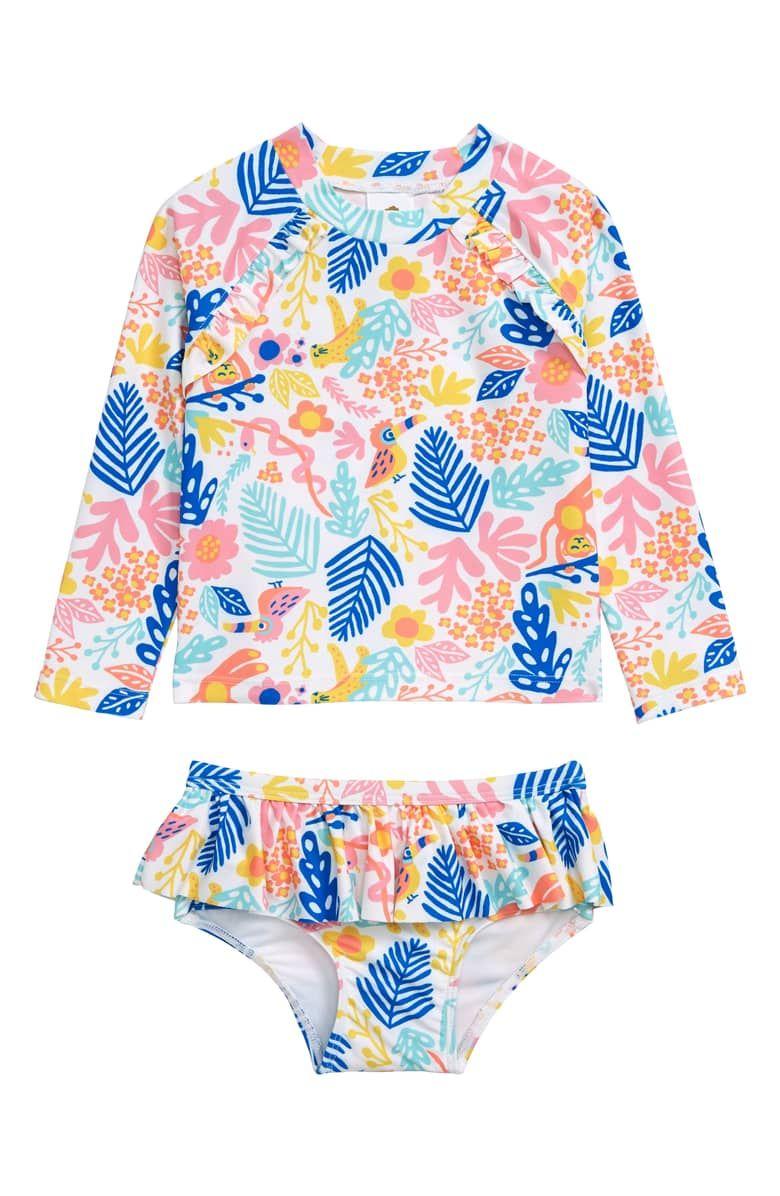 45b83e5122 Tucker + Tate Two-Piece Ruffle Rashguard Swimsuit (Baby) | Nordstrom ...