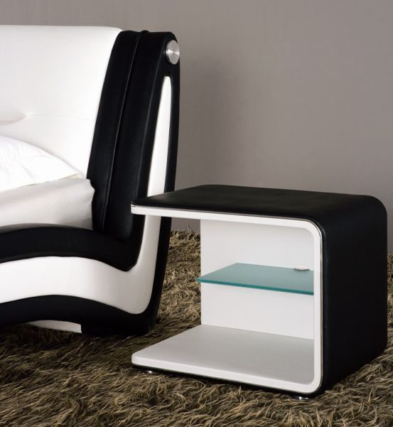 designer nachtkommode kunstleder schwarz weiss schlafzimmer kommode modern das. Black Bedroom Furniture Sets. Home Design Ideas