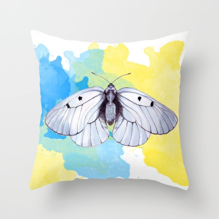 Shades of gray and white butterfly watercolor painting by Sylph Designs (artist…