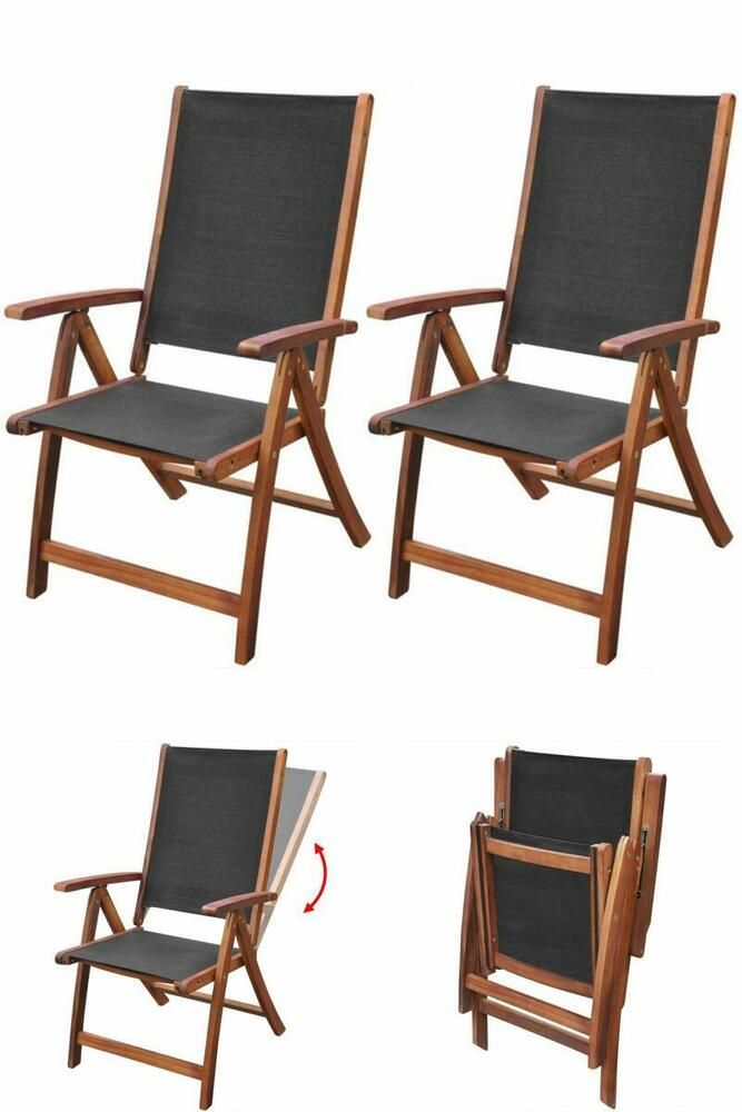 Details About Black Garden Dining Chair Set Wooden Folding Reclining