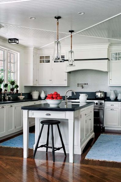 White and navy blue kitchen - glass bulb lighting