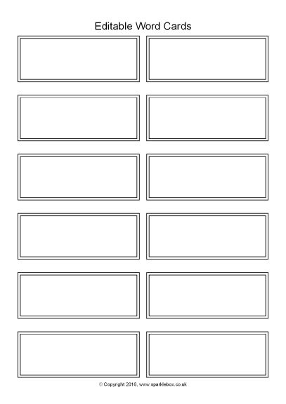 Editable Word Cards Black And White 12 Per Page Sb11469 Flash Card Template Word Wall Template Place Card Template Word