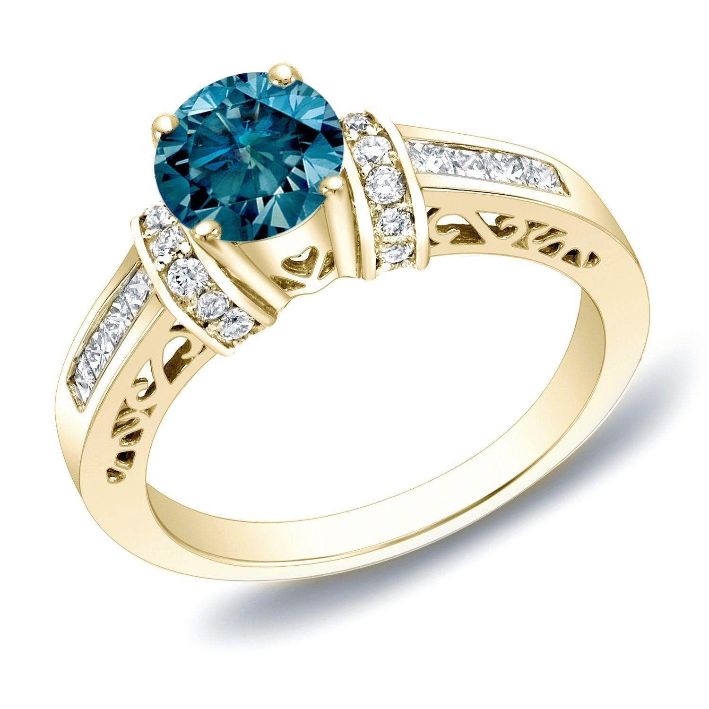 Auriya 14k Gold 1 1/4 ct TDW Blue Diamond Engagement Ring