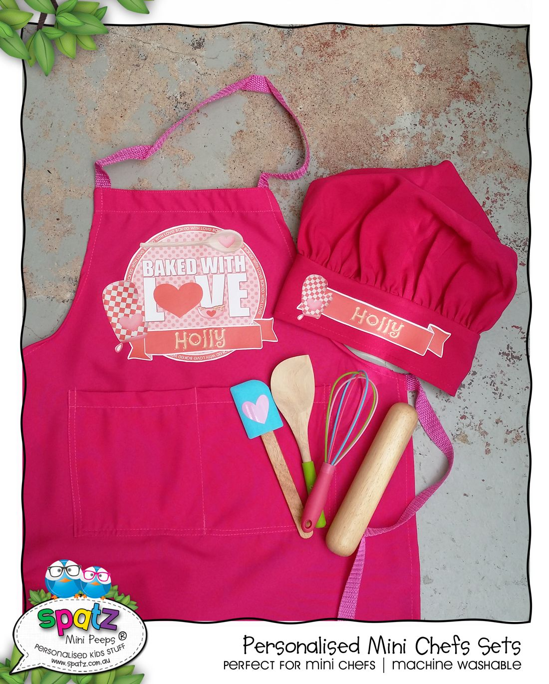 9384ef2f85c Personalised Kids Chef Apron Cooking Chef Hat With a Mini Chef Utensil Set