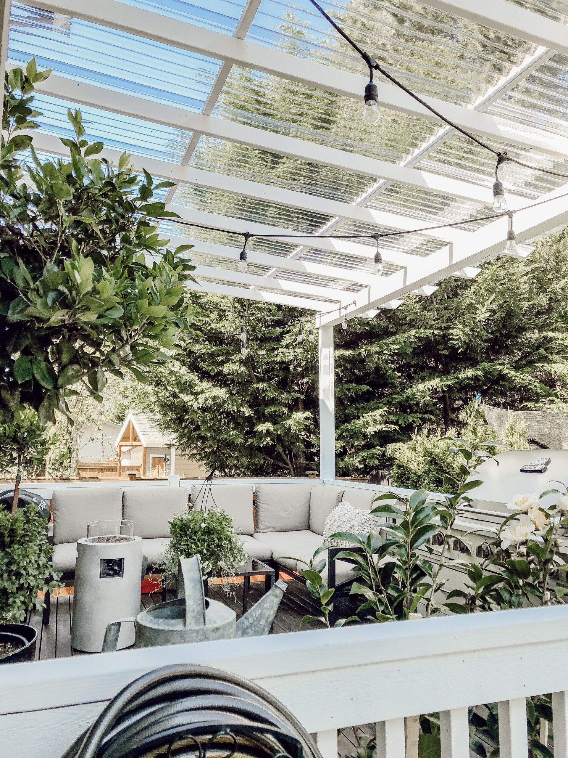 Diy Clear Corrugated Covered Pergola Attached To The House And An Existing Deck Rain And Pine Deck With Pergola Covered Pergola Building A Pergola