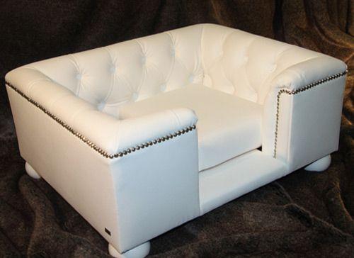Sandringham White Faux Leather Dog Bed Dog Bed Faux Leather Dog Bed Dog Furniture