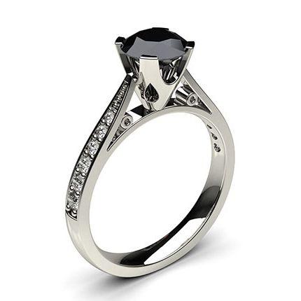 Shop 4 Prong Setting Medium Side Stone Engagement Black Diamond Ring