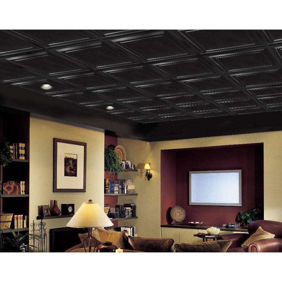 Shop armstrong easy elegance black 1516 in drop mold and mildew armstrong ceilings common x actual x easy elegance black coffered drop panel ceiling tiles at lowes easy elegance shallow coffer panels in white offer dailygadgetfo Choice Image