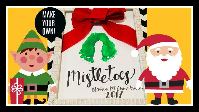 Make Baby Mistletoe Footprints (Easy Baby's 1st Christmas Craft Idea) #mistletoesfootprintcraft