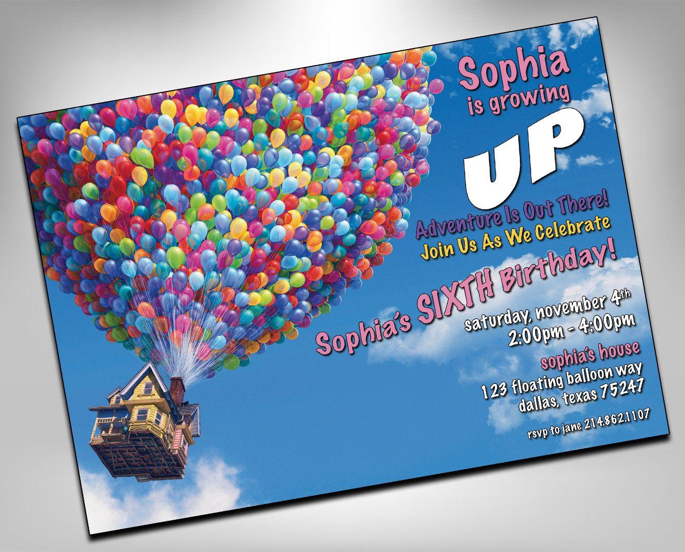 Up Birthday Invitation, Up Birthday, Up up and Away, UP Birthday ...