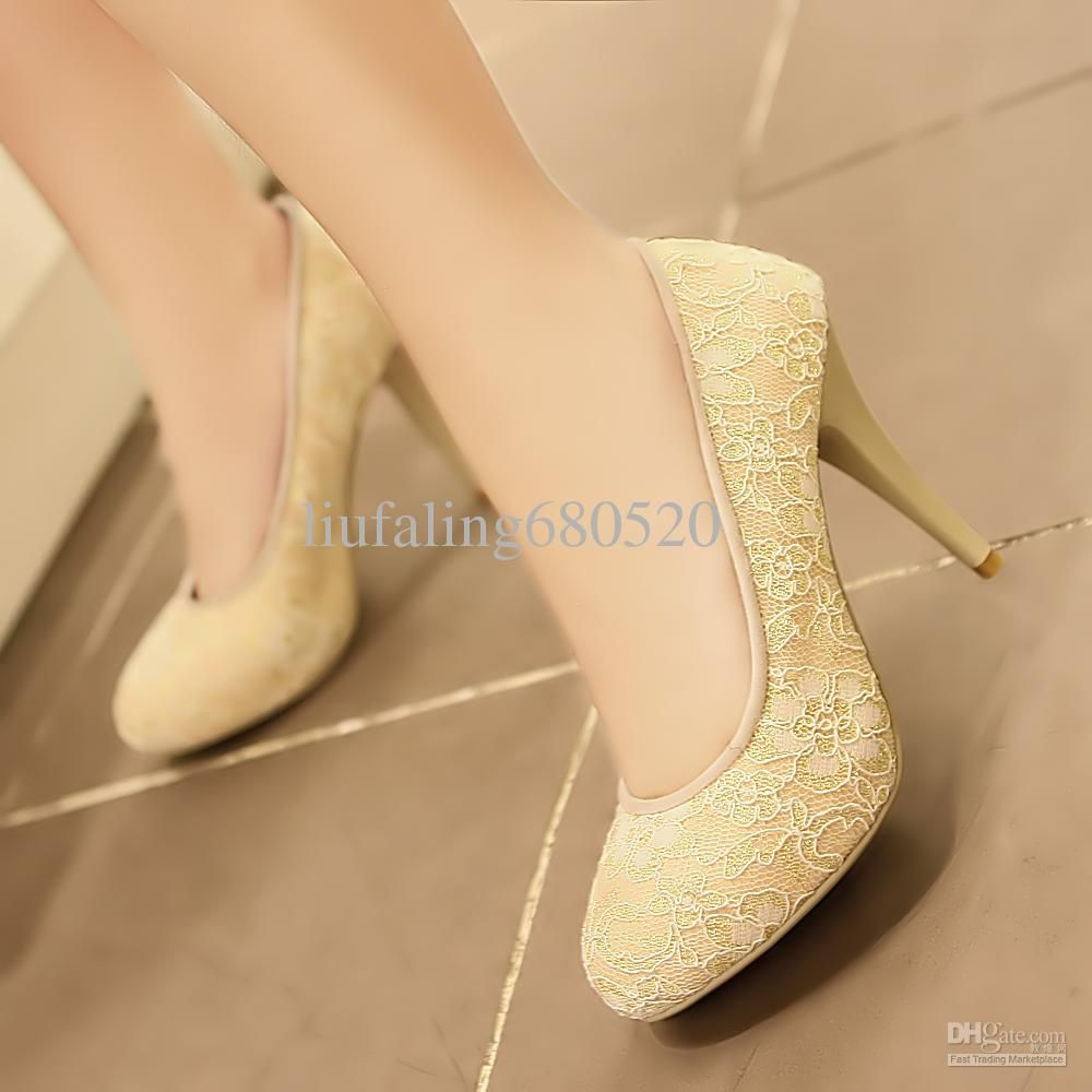 yellow Lace High Heels | Buy cheap high heeled sweet single shoes shallow mouth thin with $67 ...